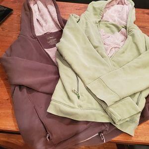 Bundle of 2 L.L.Bean hooded fleece lined zip up